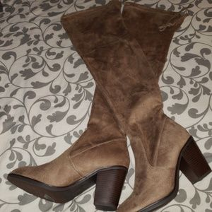 FOREVER TAUPE OVER THE KNEE HEEL BOOTS